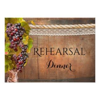 Stylish wine themed wedding rehearsal dinner invitation