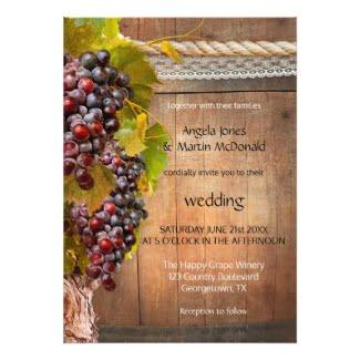 Rustic vineyard or wine themed wedding invitation