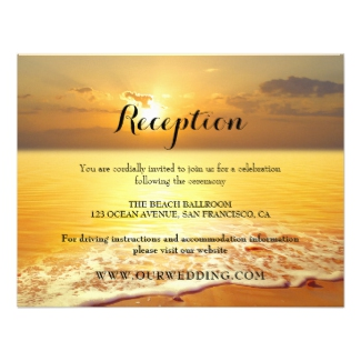 Reception or wedding insert invitation featuring a golden beach sunset
