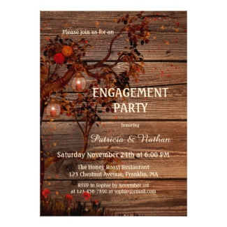 Romantic fall tree rustic engagement invitation with candle lit lanterns on dark wood