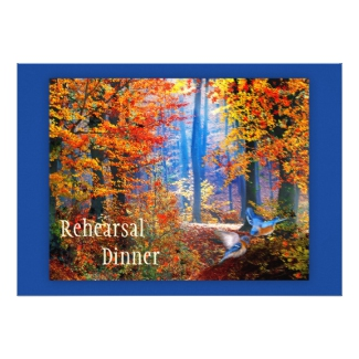 Enchanted forest fall rehearsal dinner invitation with blue birds