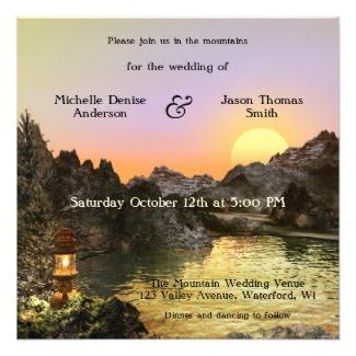 Romantic artistic landscape at sunset mountain wedding invitation