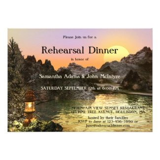 Sunset mountain fall wedding rehearsal dinner invitation