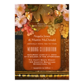 Colorful Modern Wine Theme Vineyard Wedding Invitation