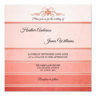 Coral Peach Striped Tone on Tone Wedding Collection