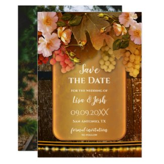Romantic Your Photo Wine Themed Save the Date Card