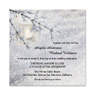 Sparkling snow and lantern winter wedding collection