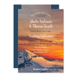 Sunset mountain view winter wedding collection