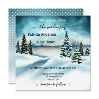 Winter wonderland watercolor wedding collection