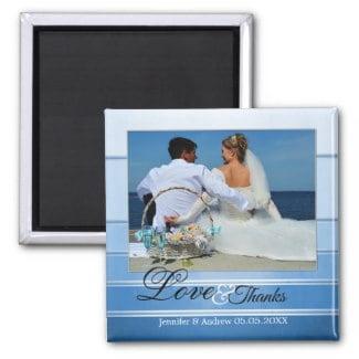 Blue Tone on Tone Nautical Striped Wedding Photo Magnet