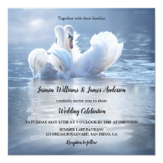 Dusty Blue Swans Lake Wedding Collection