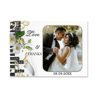 Elegant Music Themed Wedding Photo Thank You Card