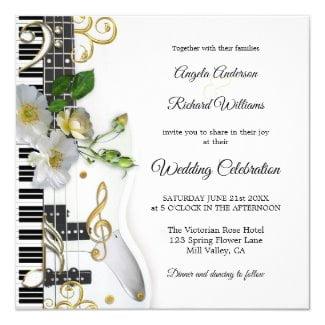 Guitar Piano Music Themed Wedding Invitation