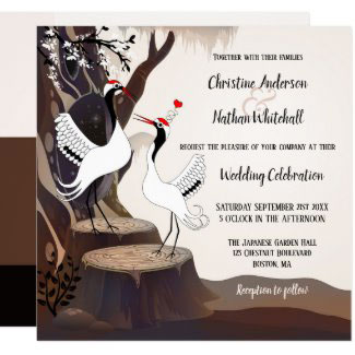 Japanese Cranes Forest Tree Wedding Collection