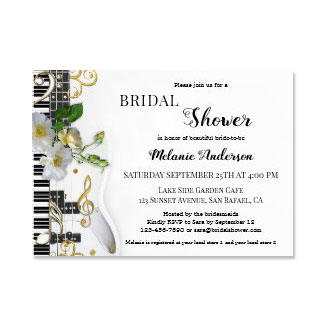 Music and Roses Bridal Shower Invitation