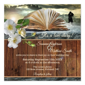 Romance Love Story Library Literary Book Wedding Invitation