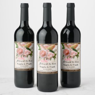 Rustic Pink Floral Personalized Wedding Wine Label