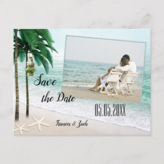 Tropical Beach Photo Save the Date Postcard