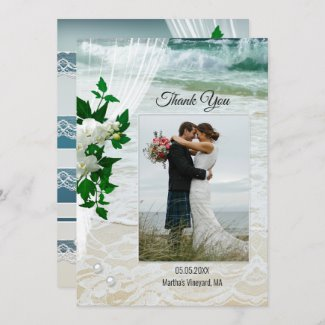 Your Photo Beach Lace Orchid Wedding Thank You Card