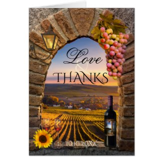 Stylish Winery Vineyard Wedding Photo Thank You Card