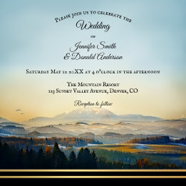 Mountain Landscape Painting Artistic Wedding Invitation - Anne's Wedding Art Blog