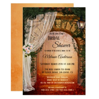 Romantic Enchanted Garden or Forest Bridal Shower Invitation