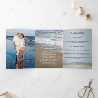 Beach Destination Wedding Tri-fold Invitation
