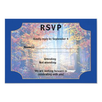 Blue Enchanted Forest Love Birds Wedding RSVP Card