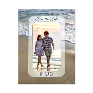 Romantic Beach Engagement Photo Save the Date Postcard