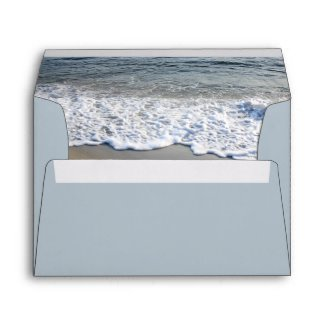 Elegant Dusty Blue Beach Wedding Envelope