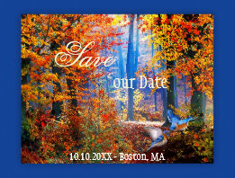 Enchanted Forest Blue Birds Save the Date Postcard