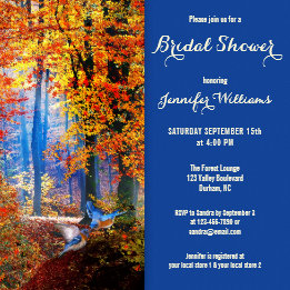 Enchanted Forest Blue Bridal Shower Invitation