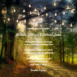 Enchanted Forest Trees String Lights Wedding Invitation