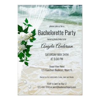Floral Beach Orchid and Lace Bachelorette Party Invitation
