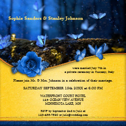 Night Butterflies Enchanted Forest Wedding Reception Invite