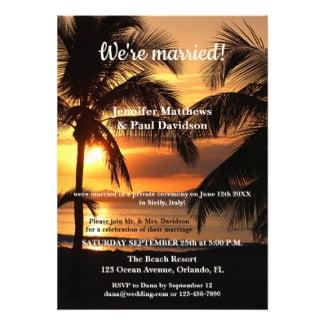 Tropical Beach Wedding Reception Only Invitation
