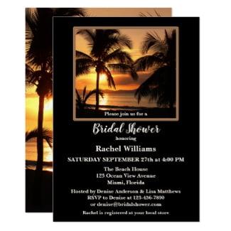 Tropical Beach Palm Trees Bridal Shower Invitation