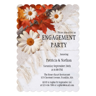 Autumn leaves colorful engagement party invitation