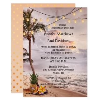 Beach String Lights Hawaii After Wedding Invitation