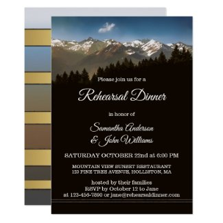 Painted Mountains Tree Wedding Rehearsal Dinner Invitation