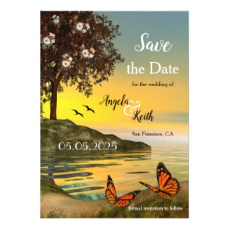 Artistic Butterfly Sunset Wedding Save the Date Card