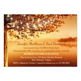 Colorful Autumn Wedding Reception Only Invitation