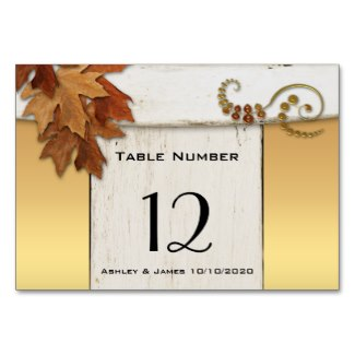 Rustic Fall Leaves Gold on Ivory Table Number Card