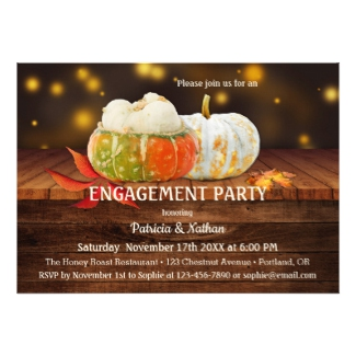 Rustic fall leaves pumpkins engagement party invitation
