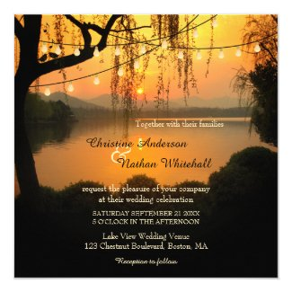Sunset Lake View String Lights Wedding Invitation