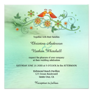 Turquoise Mint Love Bird Ocean Wedding Collection