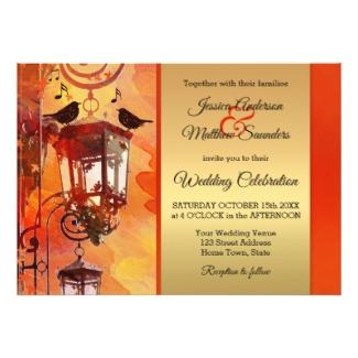 Watercolor Orange and Gold Wedding Invitation - fall wedding collections