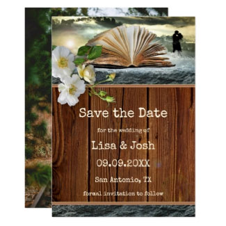 Your Photo Romantic Book Lovers Save the Date Card