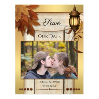 Your Photo Rustic Fall Leaves Save the Date Postcard