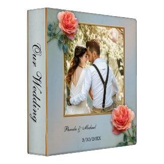 Your photo elegant rose dusty blue wedding binder or planner